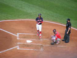 Francisco Lindor stepping up to bat. Progressive Field 2017