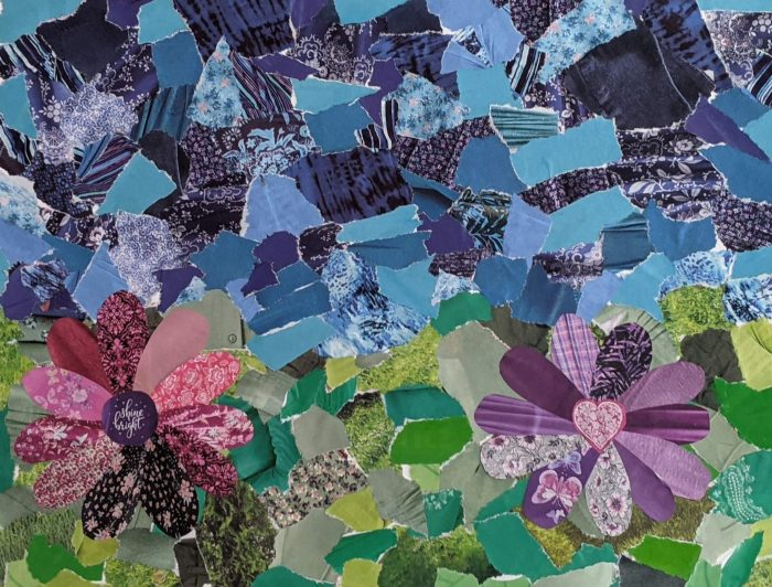 """""""Consider the Lilies"""" collage made with paper. Blue sky, green foreground, and a pink and a purple flower."""